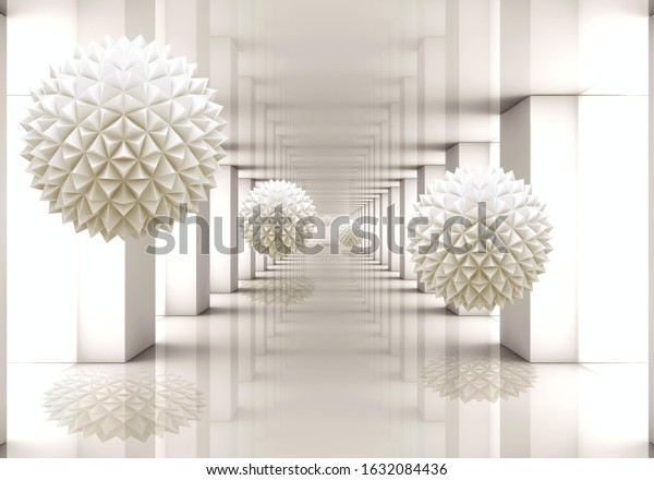 3d wallpaper tunnel filled with flying balls