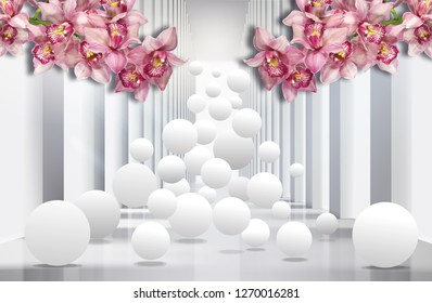3D wallpaper, white architectural background, pink orchids and spheres.