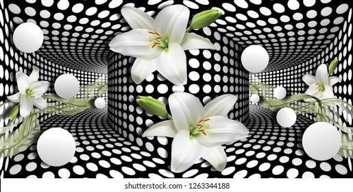 3d papel de parede, lírios de calla brancos e esfera no fundo ilusões ópticas