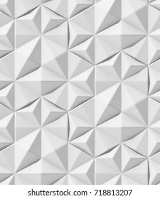 3D Wallpaper. White triangular shape.Seamless geometric ornament.