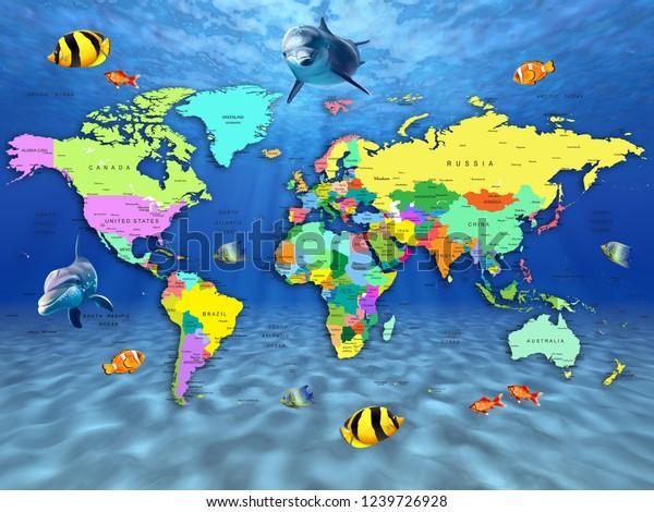 3d wallpaper world map depicting 600w 1239726928
