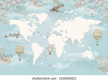 3d wallpaper world map design with planes hot air balloons on sky background for kids