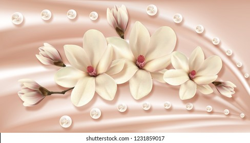 3d wallpaper,magnolia and pearls on silk background. Flower theme - this is a trend in design. Celebration 3d background.