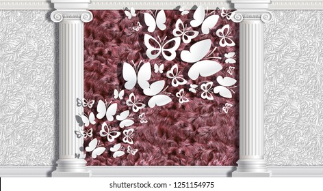 3d wallpapers, columns, fur and butterflies. The main features of classicism: restraint, aristocracy, sophistication. 3d background in classical style.