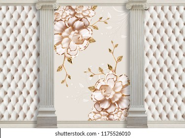 3d wallpapers with columns, porcelain flowers and effect of quilted leather will visually expand the space in a small room, bring more light and become an accent in the interior.
