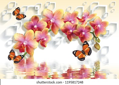 3D wallpapers with peach orchids and waving butterflies on 3d background will visually expand the space in a room, bring more light and become an accent in the interior.