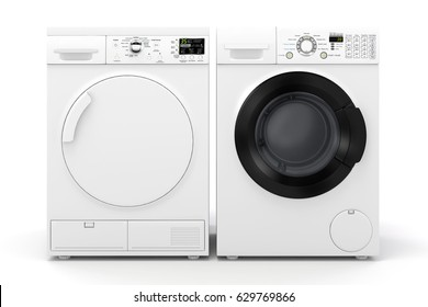 3d washing machine and dryer on white background
