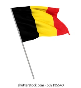 3d Waving colorful belgium flag render isolated