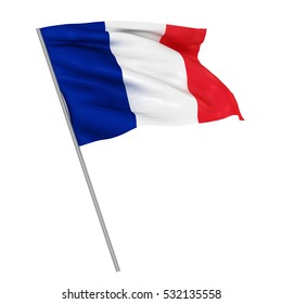 3d Waving colorful france flag render isolated
