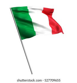 3d Waving colorful italy flag render isolated