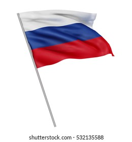 3d Waving colorful russia flag render isolated