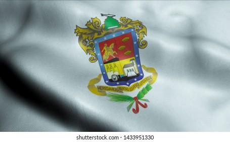 3D Waving Flag of Michoacan City Closeup View