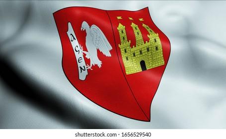 3D Waving France City Coat of Arms Flag of Agen Closeup View