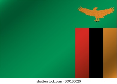 A 3D Wavy Flag Illustration of the country of  Zambia