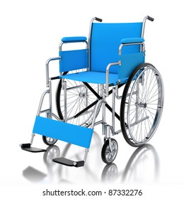 3d wheelchair isolated on white background