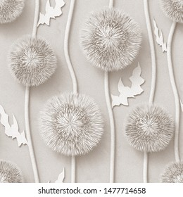 3d, white background, floral wallpaper, flowers Thistle, seamless
