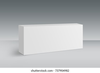 3D White Box on Ground, Mock Up Template Ready For Your Design, Clipping Path Included.