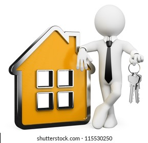 3d white business person with a conceptual house and a bunch of keys. 3d image. Isolated white background.