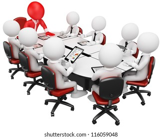 3d white business person in a meeting with tablet computer. 3d image. Isolated white background.