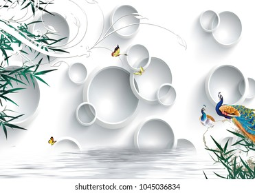 3d white circle with peacock