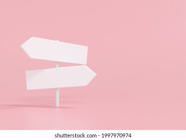 3d white directions sign on pink background. 3d render illustration