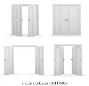 白い背景に3D白い二重ドア