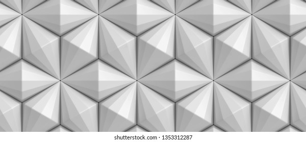 3D white faceted diamonds in a seamless pattern. Christmas ornament. High quality seamless realistic texture.
