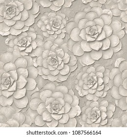 3d, white floral wallpaper, seamless