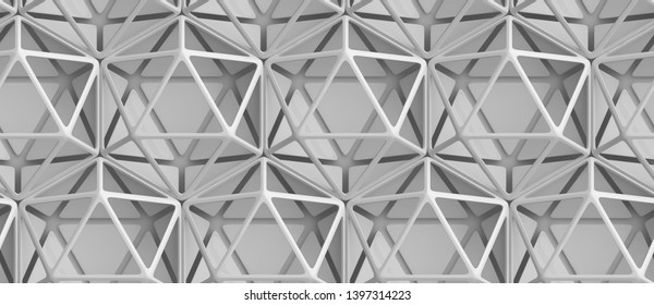 3D white frame modules of hexagons in the form of an icosahedron. High quality seamless realistic texture.