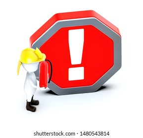 3d white guy , fire fighter with fire extiguisher -exclamation sign in hexagonal board - 3d rendering