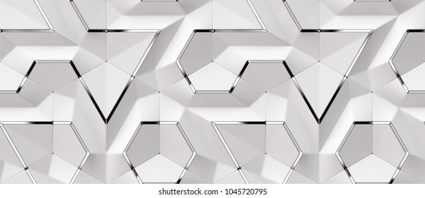 3D white leather panels with silver decor elements. Shaded and matt geometric modules. High quality seamless design texture