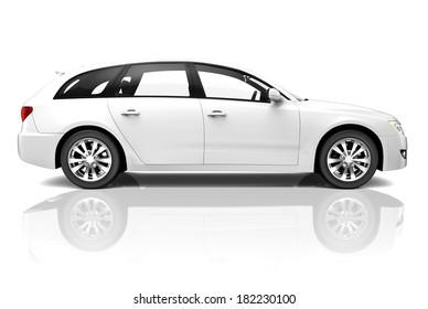 3D White Luxury Car