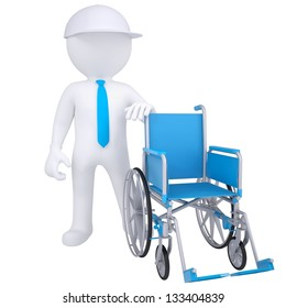 3d white man got rid of the wheelchair. Isolated render on a white background