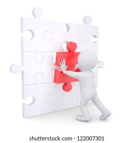 3d white man inserts red puzzle. Isolated render on a white background