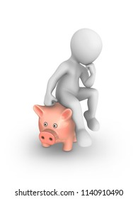 3d white man sitting on the piggy bank and thinking. 3d rendered illustration with small people.