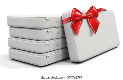 3d white mattress stack  with red bow on white background