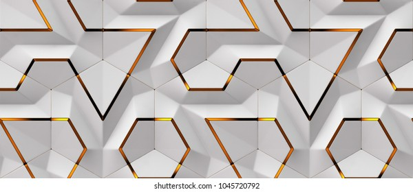 3D white panels with red gold decor elements. Shaded geometric modules. High quality seamless design texture