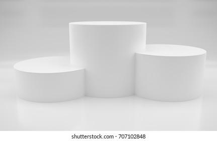 3D white pedestal for winners. 3D rendering
