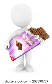 3d white people bar of chocolate, isolated white background, 3d image