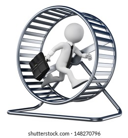 3d white people. Businessman in a hamster wheel. Isolated white background.