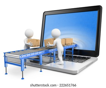 3d white people. Delivering packages through a laptop screen. Isolated white background.