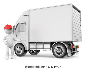 3d white people. White delivery truck with blank sides ready for custom text and logos . Isolated white background.