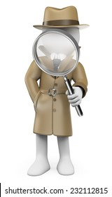 3d white people. Detective. Private Investigator with a magnifying glass. Isolated white background.