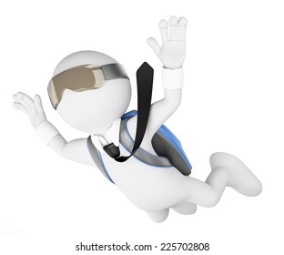 3d white people. Financial risk concept. Businessman leaping into the void. Isolated white background.
