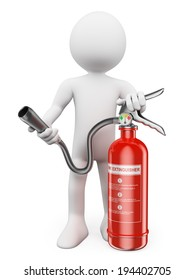 3d white people. Fire extinguisher. Isolated white background.