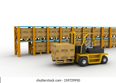3D white people. Forklift in a warehouse