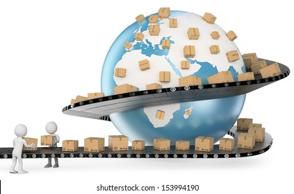 3d white people. International Delivery Service metaphor. Global Transport. Isolated white background.