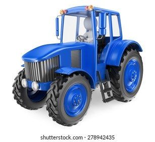 3d white people. Man driving a tractor. Isolated white background.