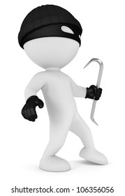 3d white people masked thief with a crowbar and black gloves, isolated white background, 3d image