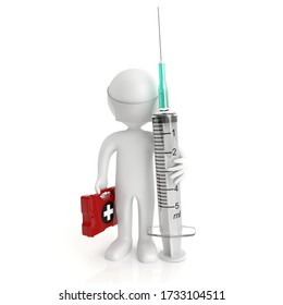 3d white people with a medical syringe, isolated white background, 3d image